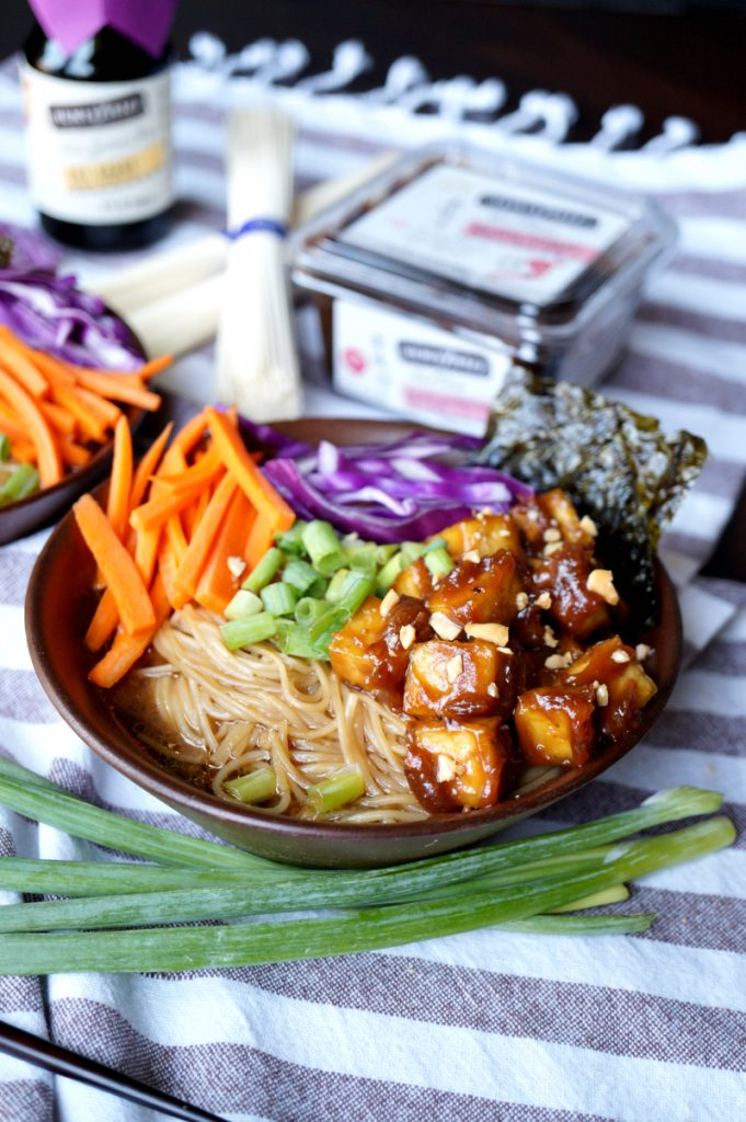 vegan ramen noodle soup with sticky peanut tofu
