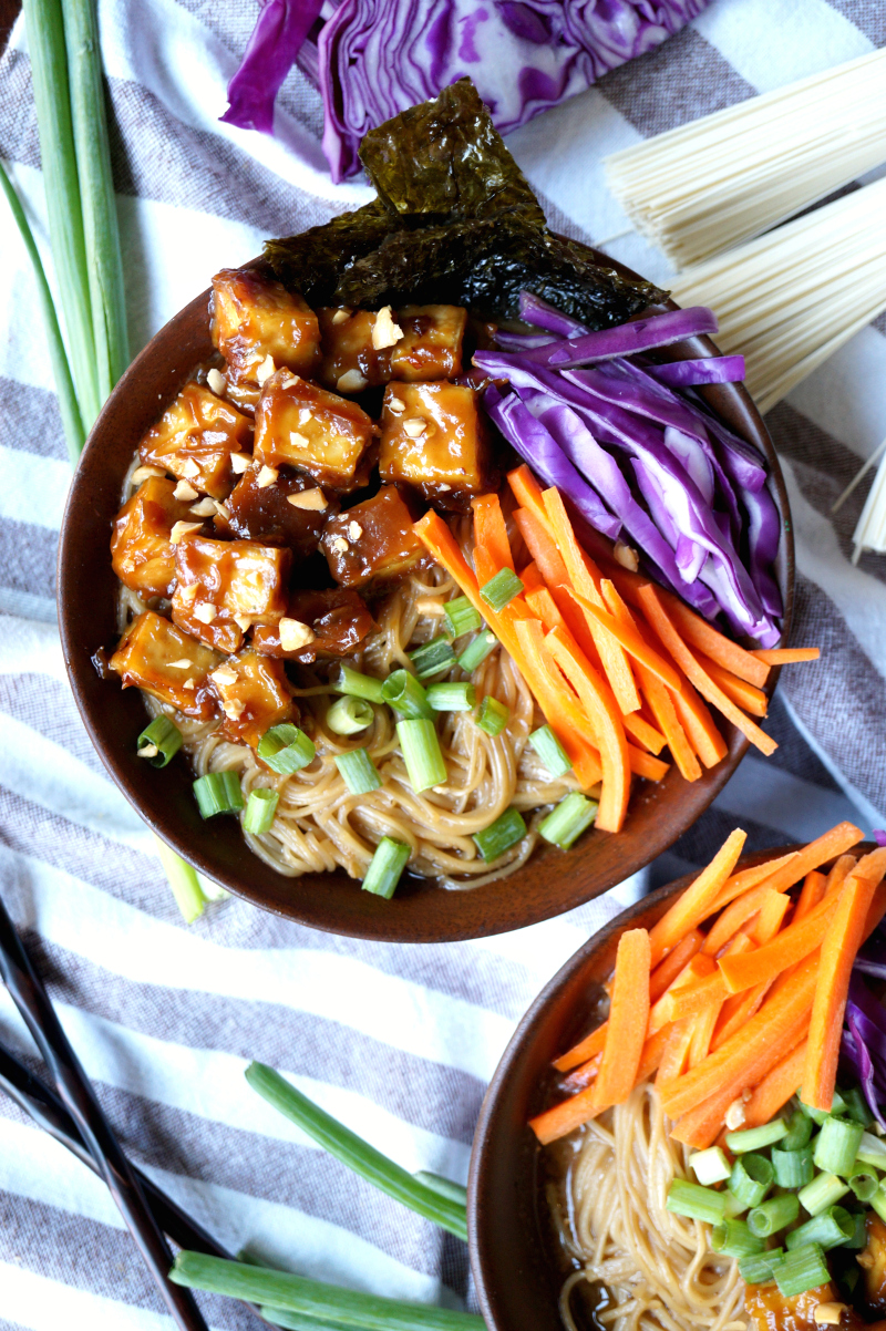 vegan ramen noodle soup with sticky peanut tofu | The Baking Fairy