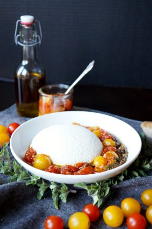 homemade ricotta with tomato garlic confit   The Baking Fairy