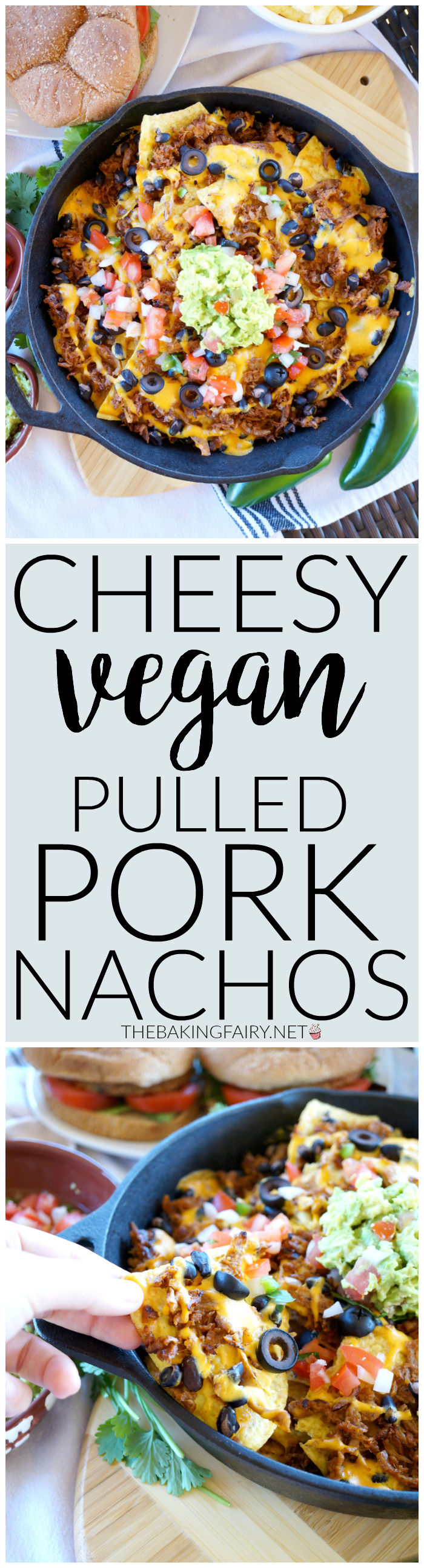 cheesy vegan pulled pork nachos | The Baking Fairy #TailgateWithATwist #SeasonalSolutions #ad