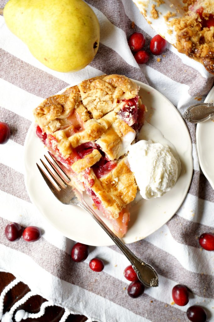 cranberry pear lattice pie