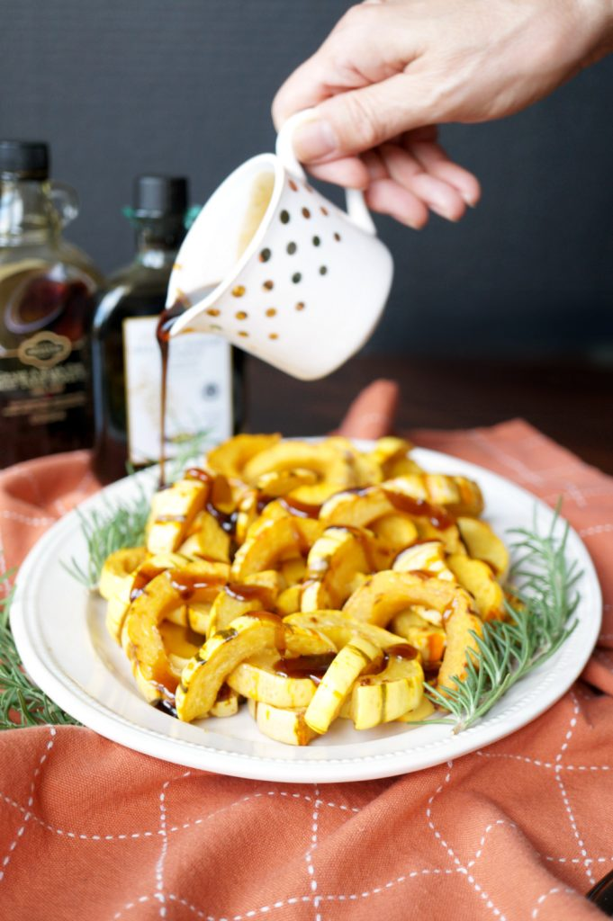 roasted delicata squash with balsamic maple vinaigrette