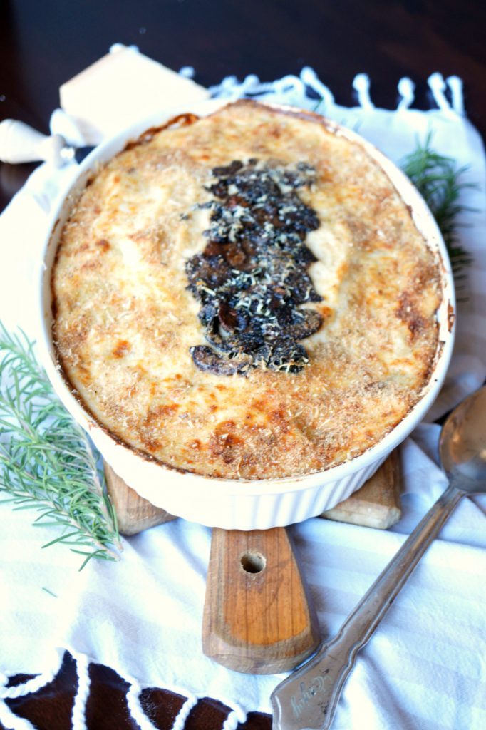potato mushroom gratin with mozzarella and parmesan