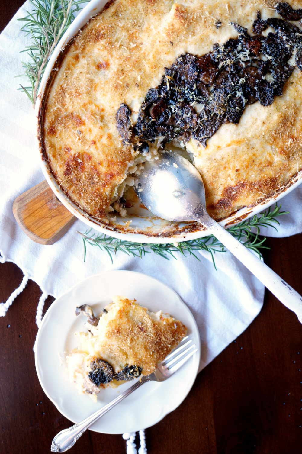potato mushroom gratin with mozzarella and parmesan | The Baking Fairy