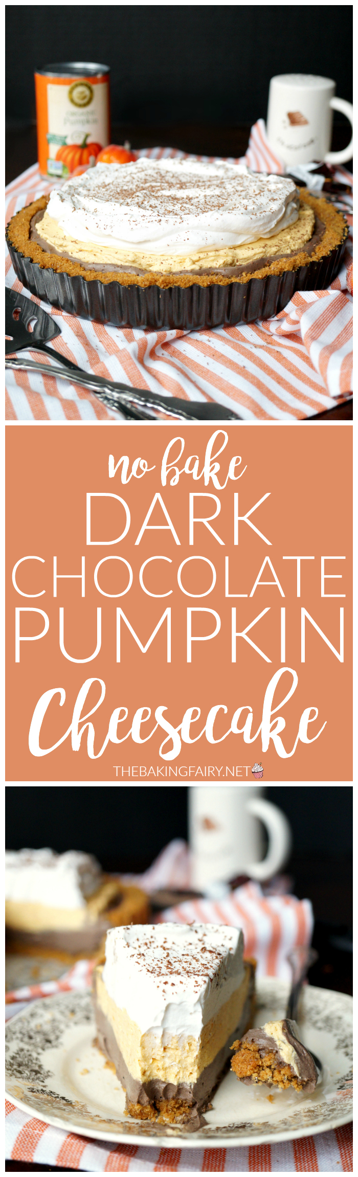 No Bake Dark Chocolate Pumpkin Cheesecake The Baking Fairy