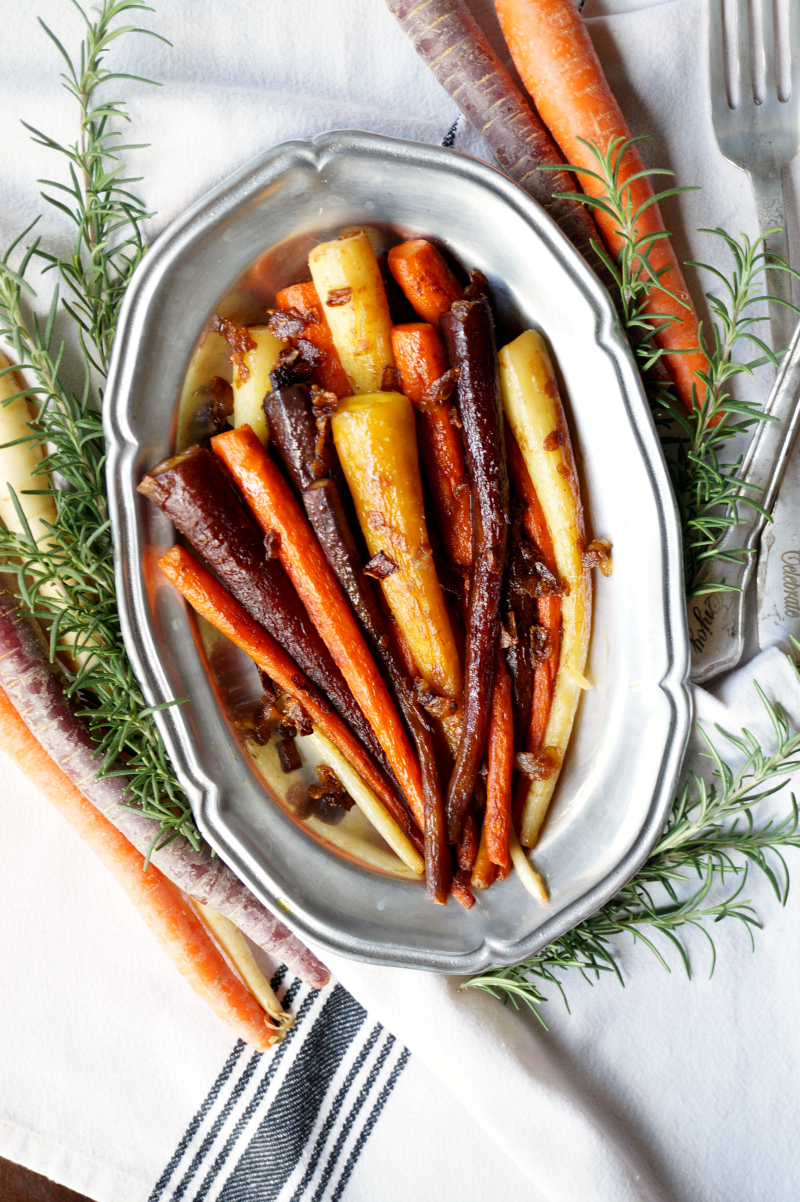 stovetop rainbow carrots with caramelized onions | The Baking Fairy