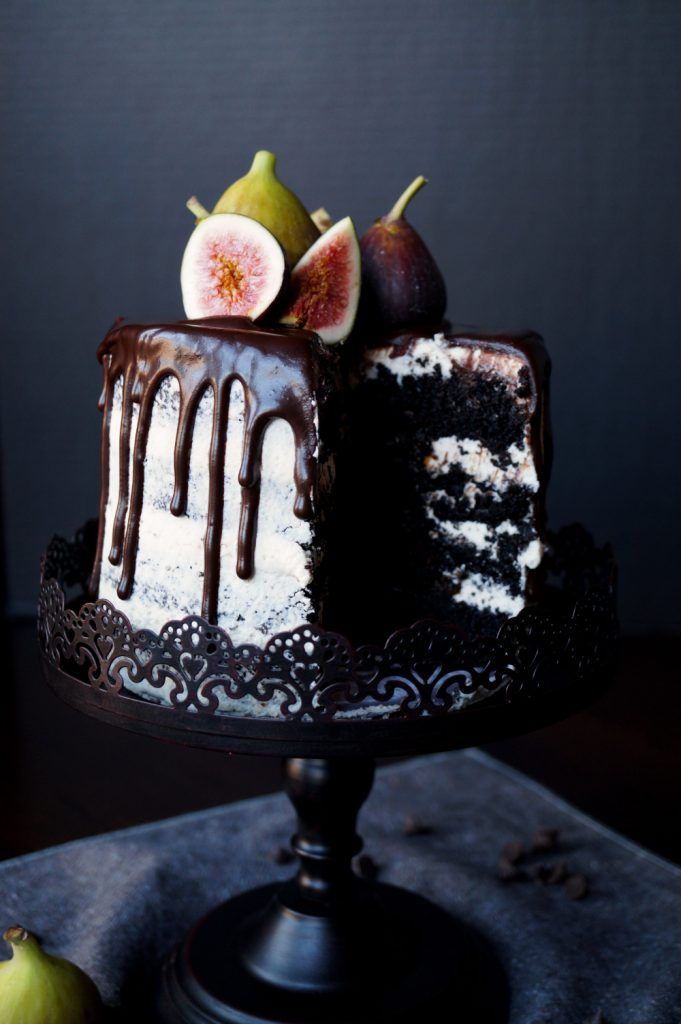 vegan fig dark chocolate layer cake | The Baking Fairy