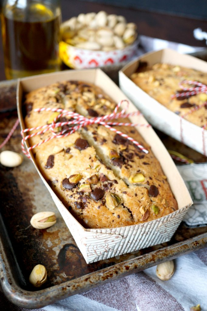 vegan chocolate chunk pistachio olive oil loaf cakes
