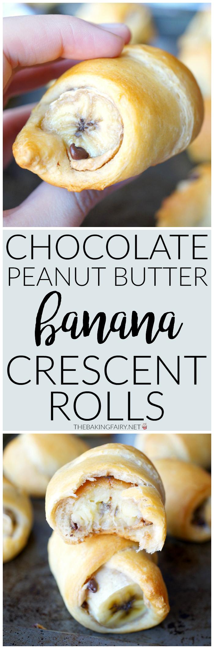 chocolate peanut butter banana crescents | The Baking Fairy
