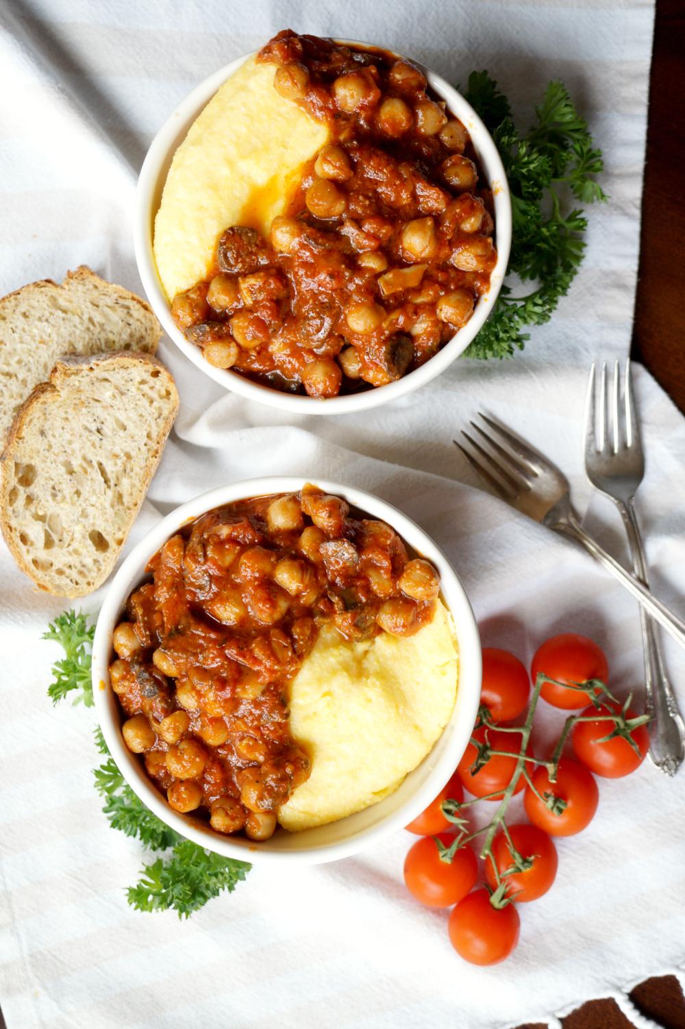 vegan chickpea mushroom tomato stew with polenta | The Baking Fairy