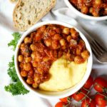 vegan chickpea mushroom tomato stew with polenta | The Baking Fairy