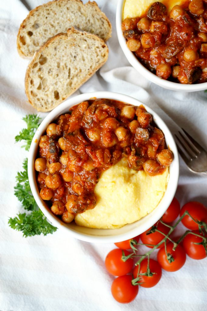 vegan chickpea mushroom tomato stew with polenta