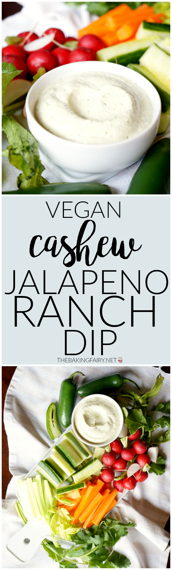 vegan cashew jalapeno ranch dip | The Baking Fairy