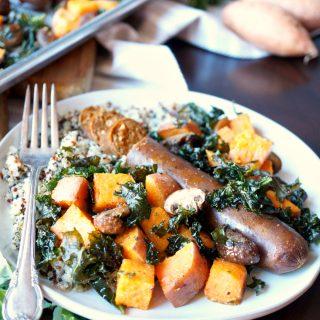 vegan sausage sheet pan meal with sweet potatoes and kale | The Baking Fairy