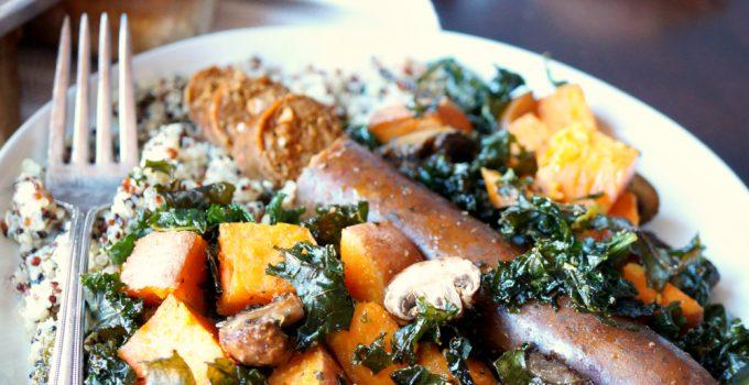 vegan sausage sheet pan meal with sweet potatoes and kale