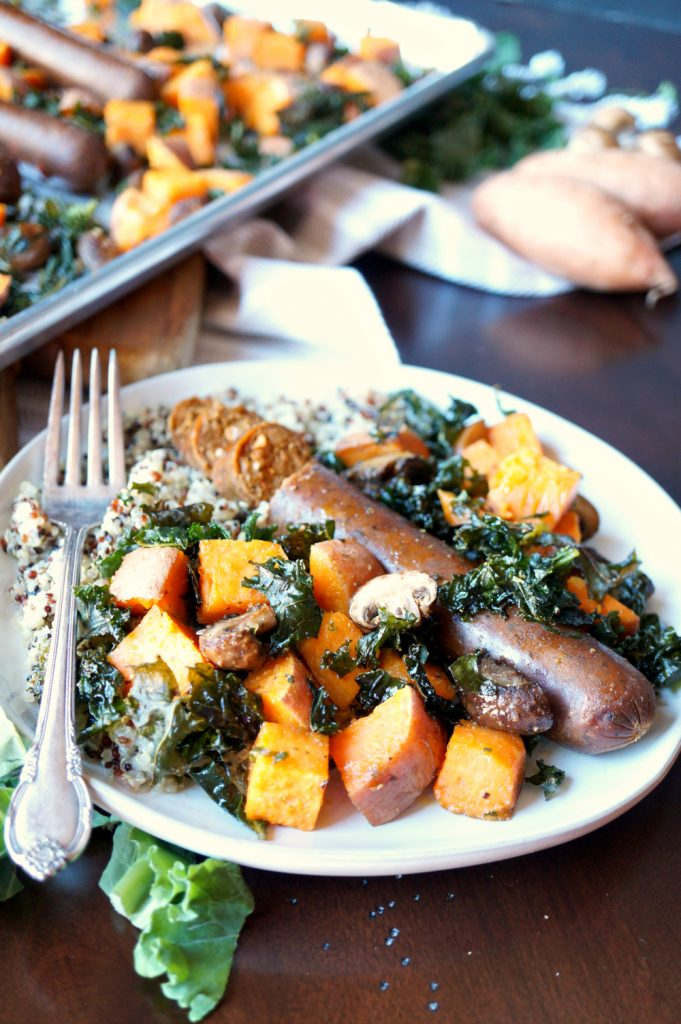 vegan sausage sheetpan meal with sweet potatoes and kale