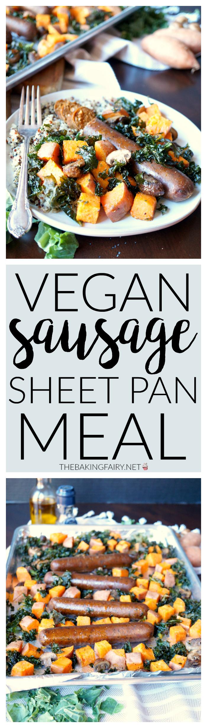 vegan sausage sheet pan meal with sweet potatoes and kale   The Baking Fairy