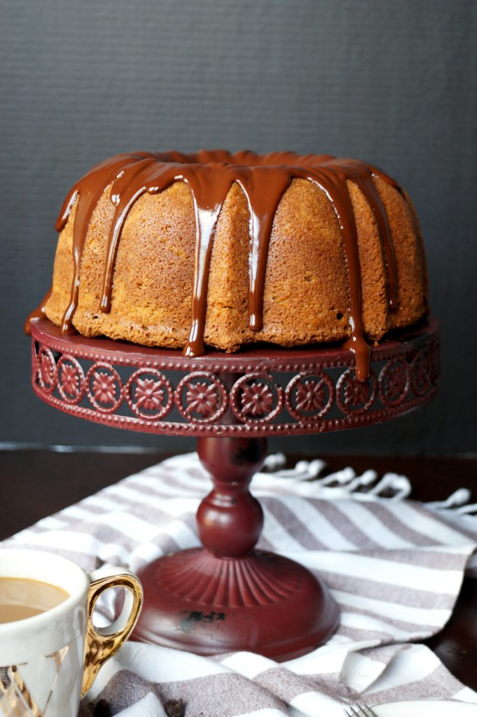 espresso bundt cake with dark chocolate ganache