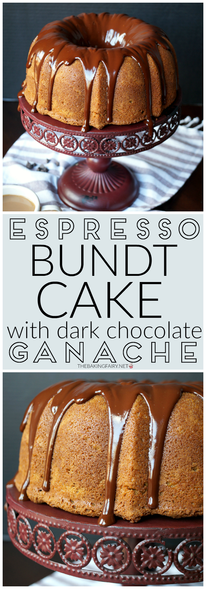 espresso bundt cake with dark chocolate ganache | The Baking Fairy