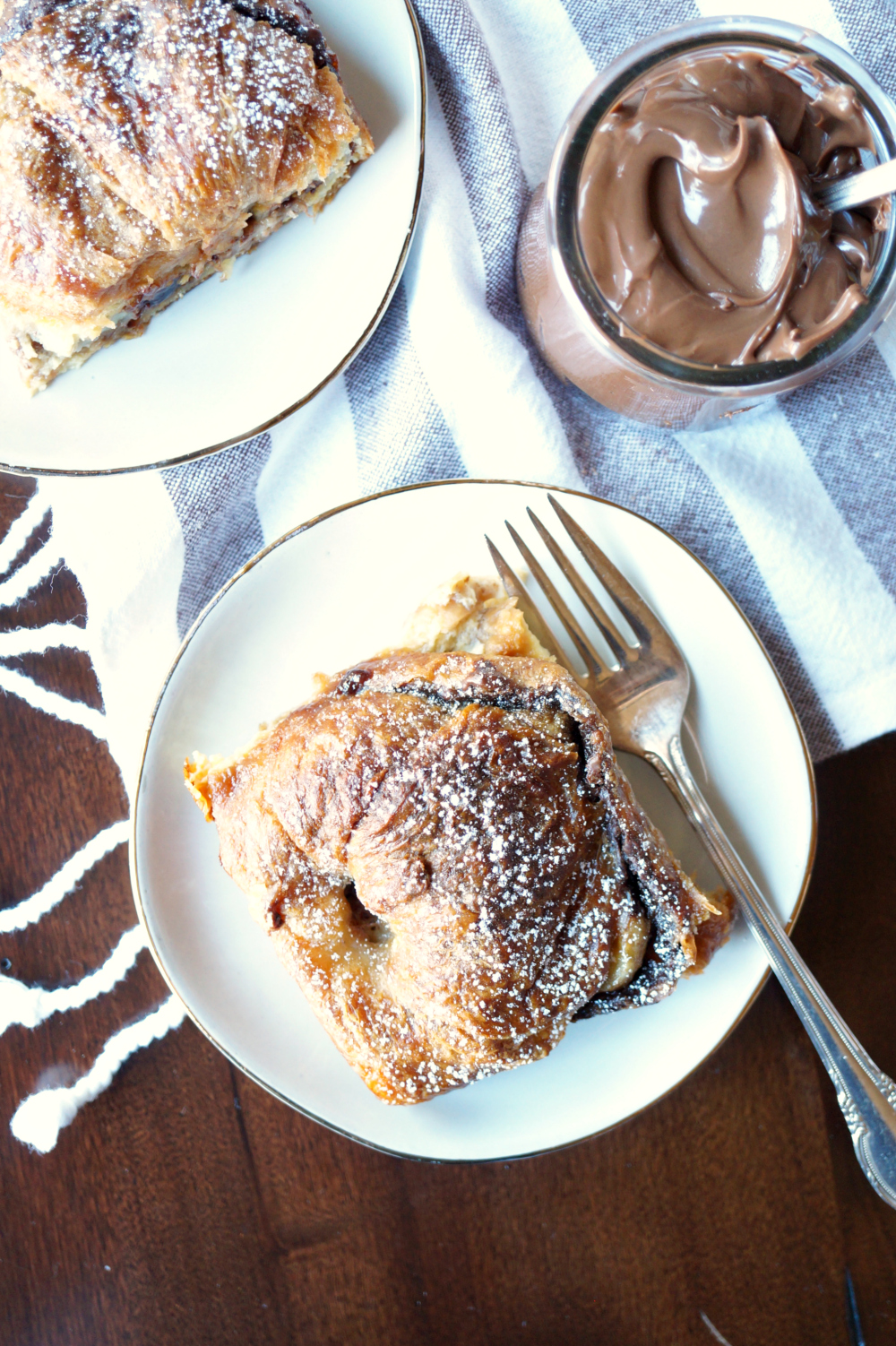banana Nutella croissant french toast casserole | The Baking Fairy