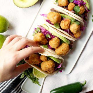 fried mushroom street tacos with FarmRich | The Baking Fairy