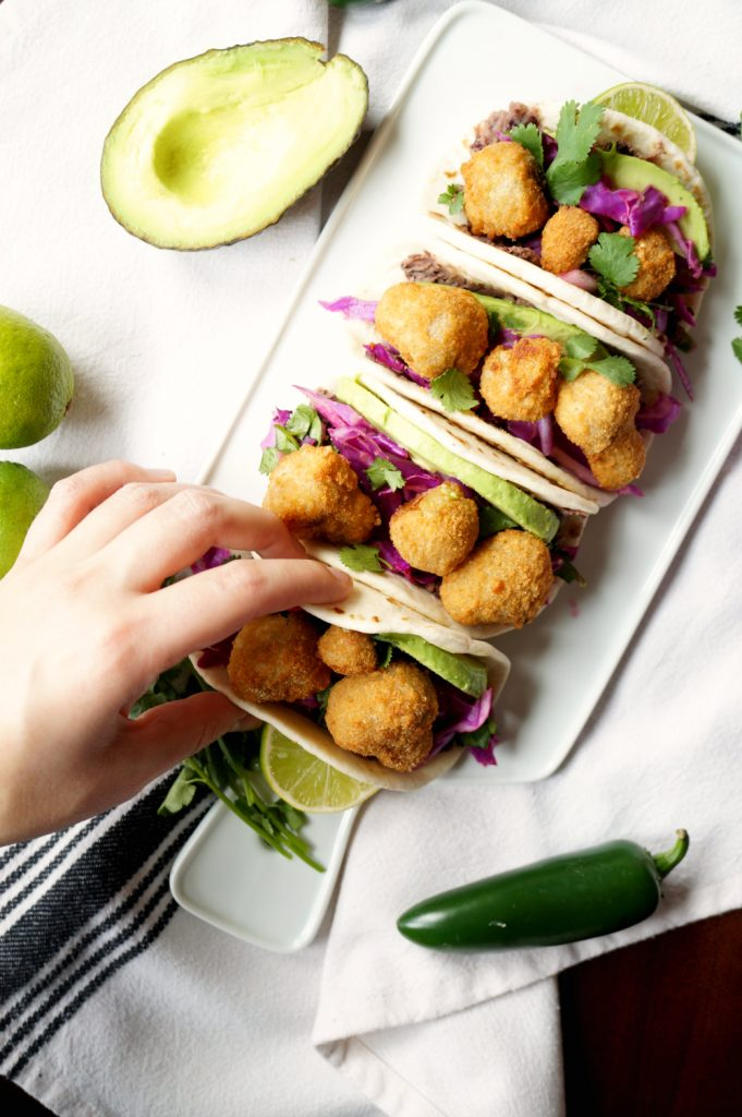 crispy mushroom street tacos with Farm Rich