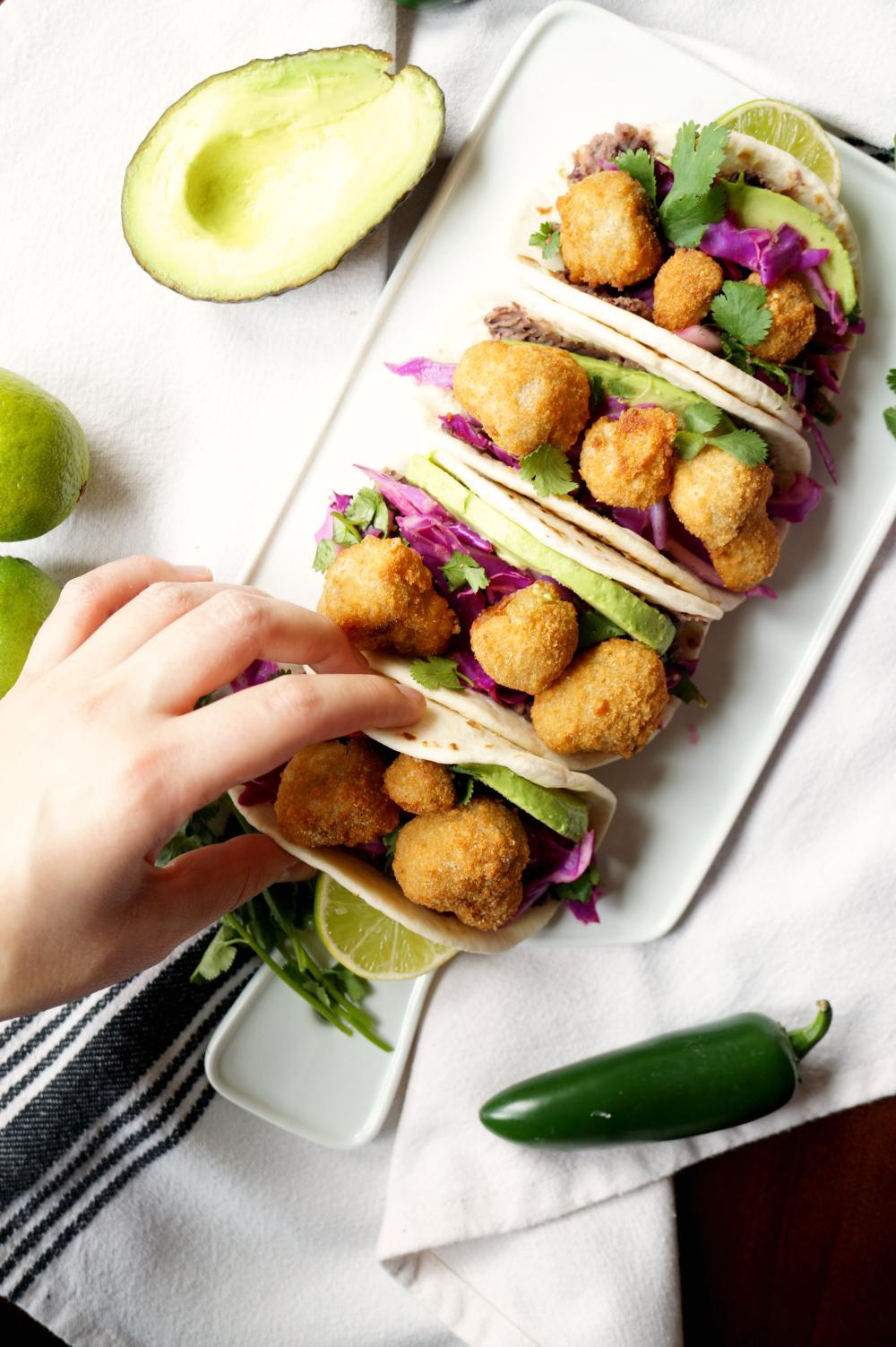 crispy mushroom street tacos with Farm Rich | The Baking Fairy