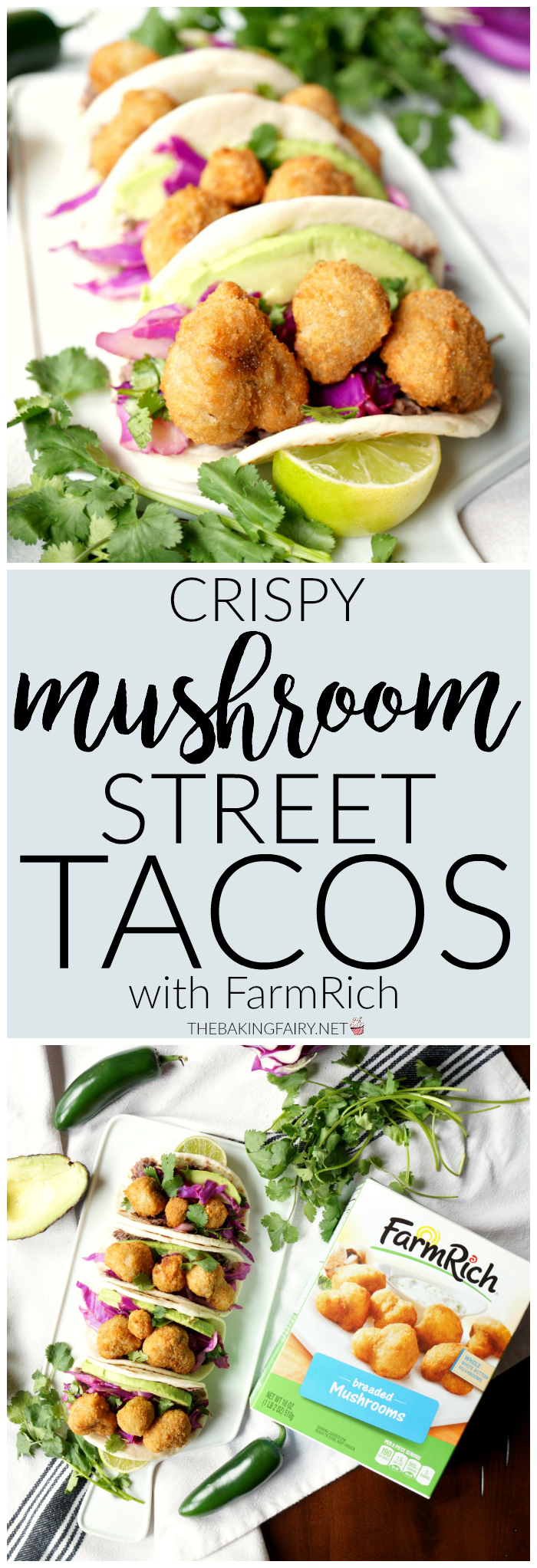 crispy mushroom street tacos with Farm Rich | The Baking Fairy