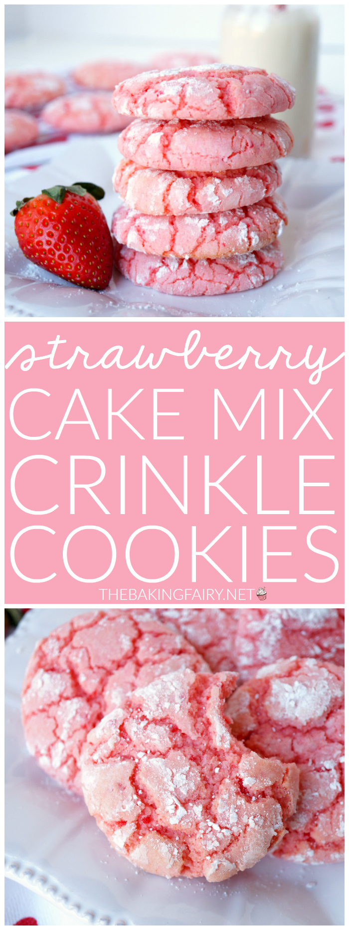 Strawberry Cake Mix Crinkle Cookies The Baking Fairy