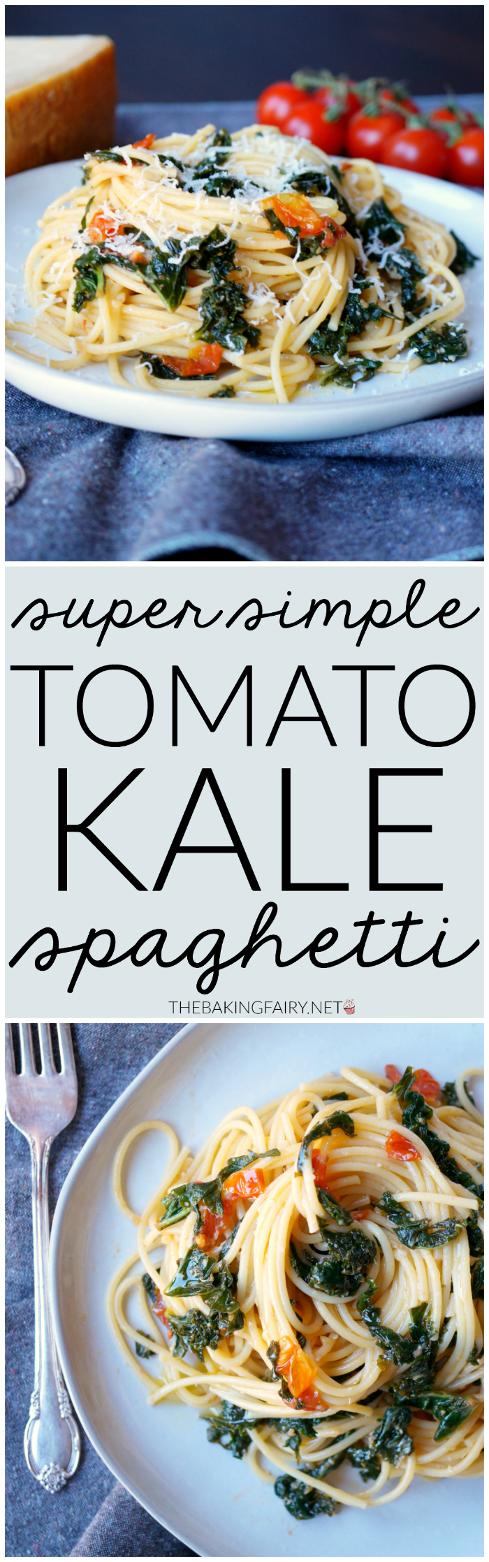 super simple tomato kale spaghetti | The Baking Fairy