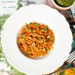 carrot noodles with carrot-top pesto and pistachios | The Baking Fairy