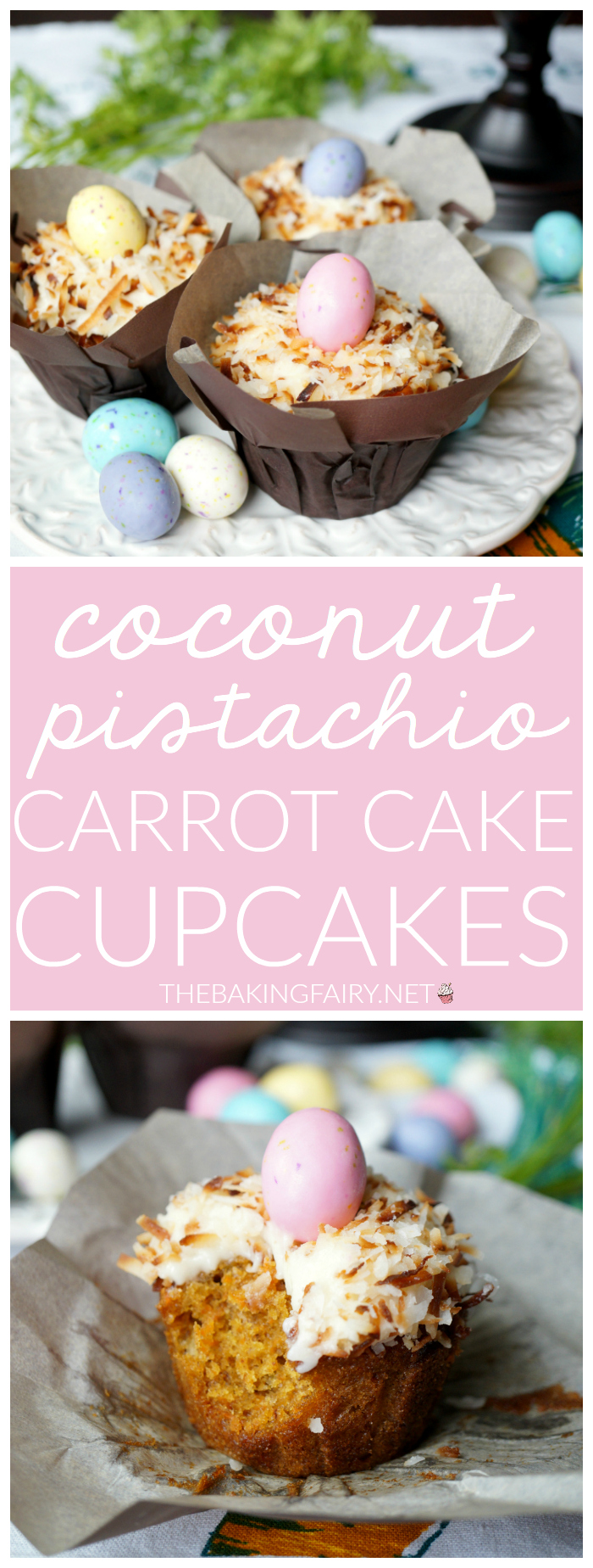 coconut pistachio carrot cake cupcakes | The Baking Fairy