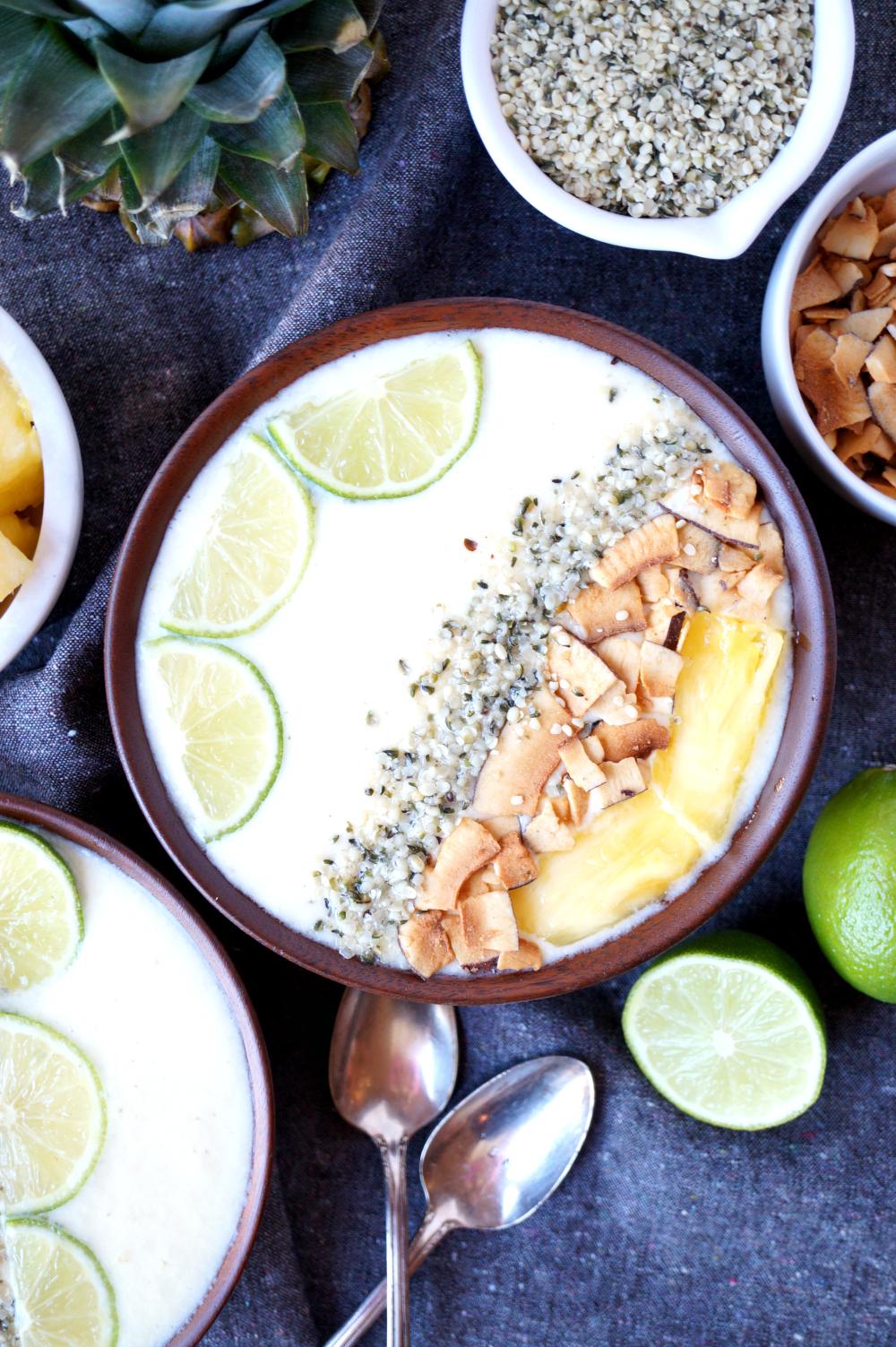 piña colada smoothie bowls | The Baking Fairy