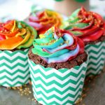 chocolate Bailey's cupcakes with rainbow frosting | The Baking Fairy