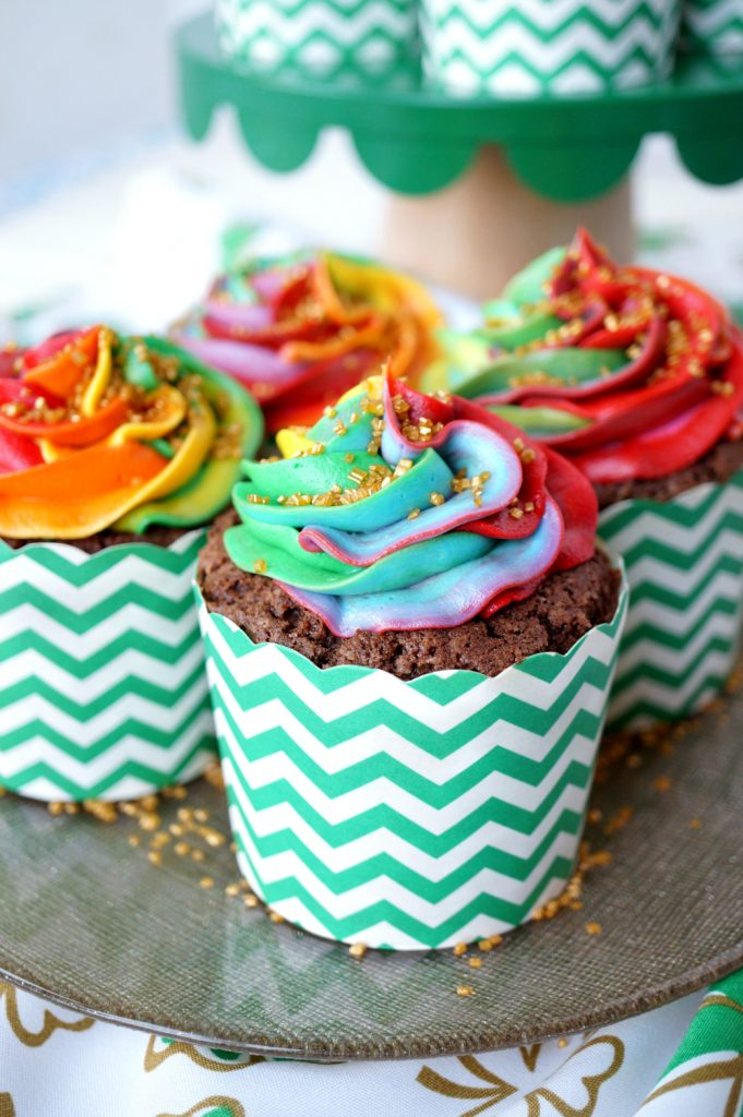 chocolate Bailey's cupcakes with rainbow frosting