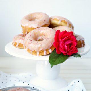 baked vanilla donuts with strawberry glaze {vegan/soy-free}   The Baking Fairy