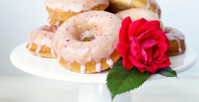 baked vanilla donuts with strawberry glaze {vegan/soy-free}