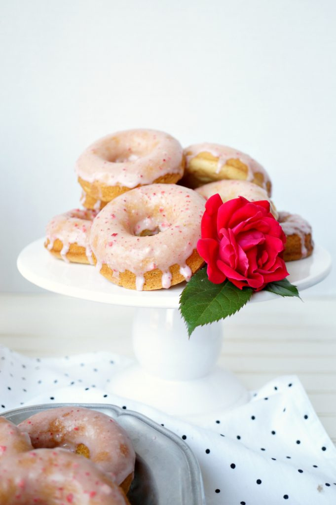 baked vanilla donuts with strawberry glaze {vegan/soy-free}