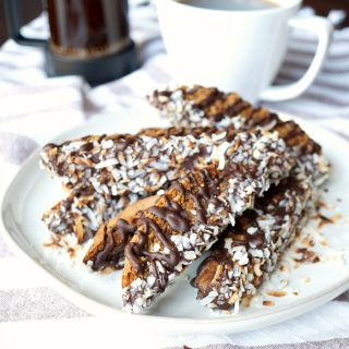 vegan chocolate toasted coconut biscotti | The Baking Fairy