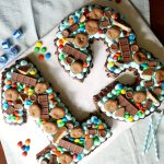 gluten free chocolate candy cutout number cake | The Baking Fairy