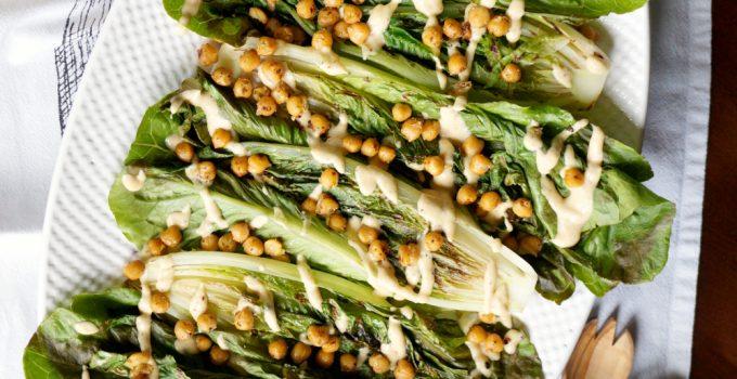 vegan charred caesar salad with crispy chickpeas #CookoutWeek
