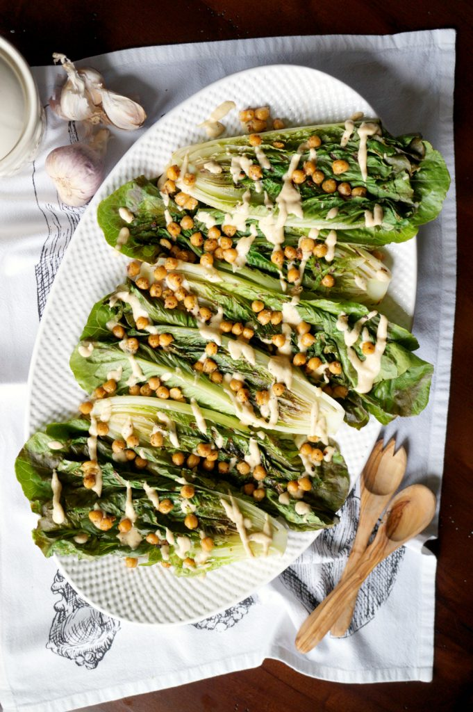 vegan charred caesar salad with crispy chickpeas #CookoutWeek