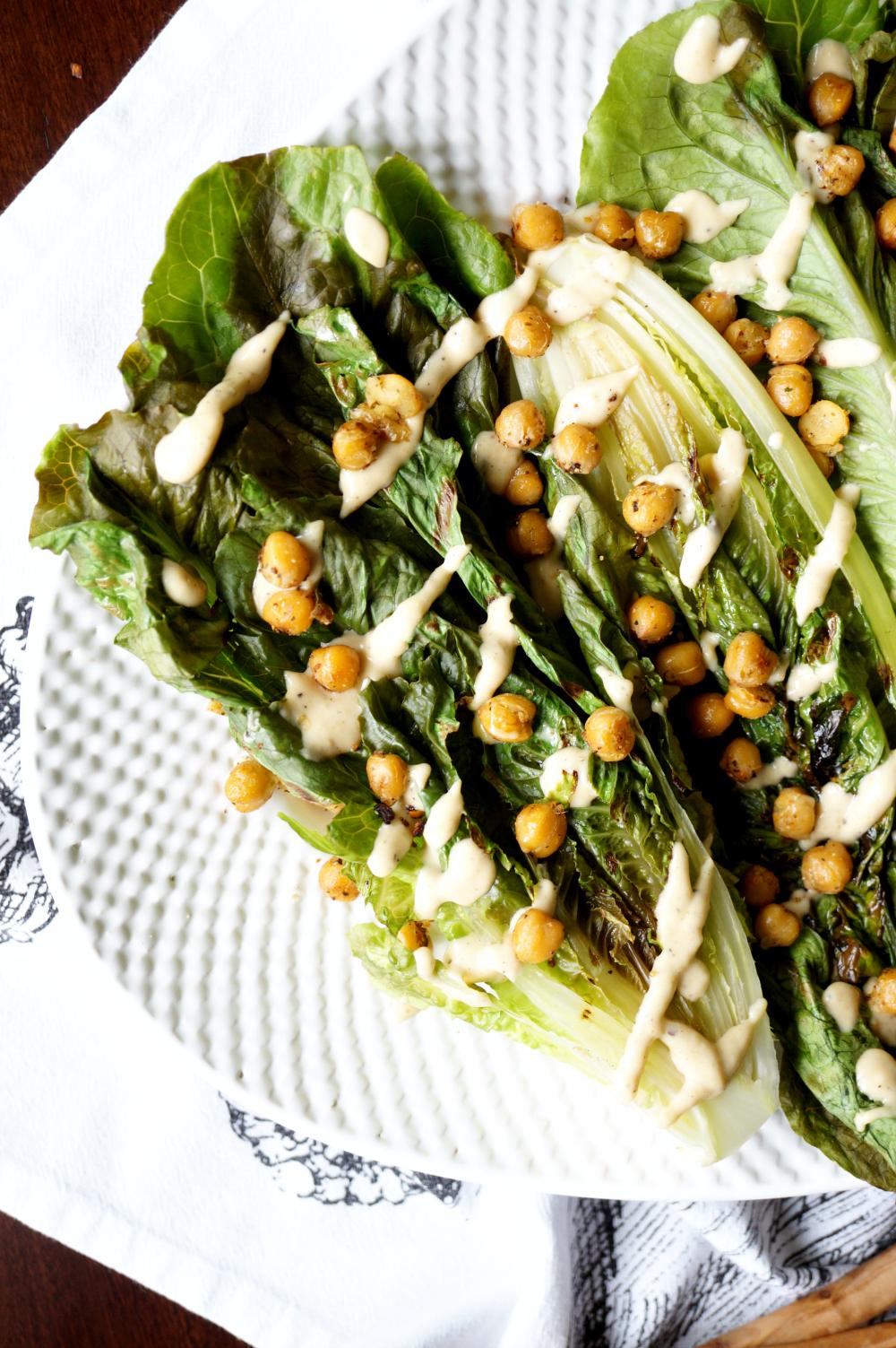 vegan charred caesar salad with crispy chickpeas | The Baking Fairy