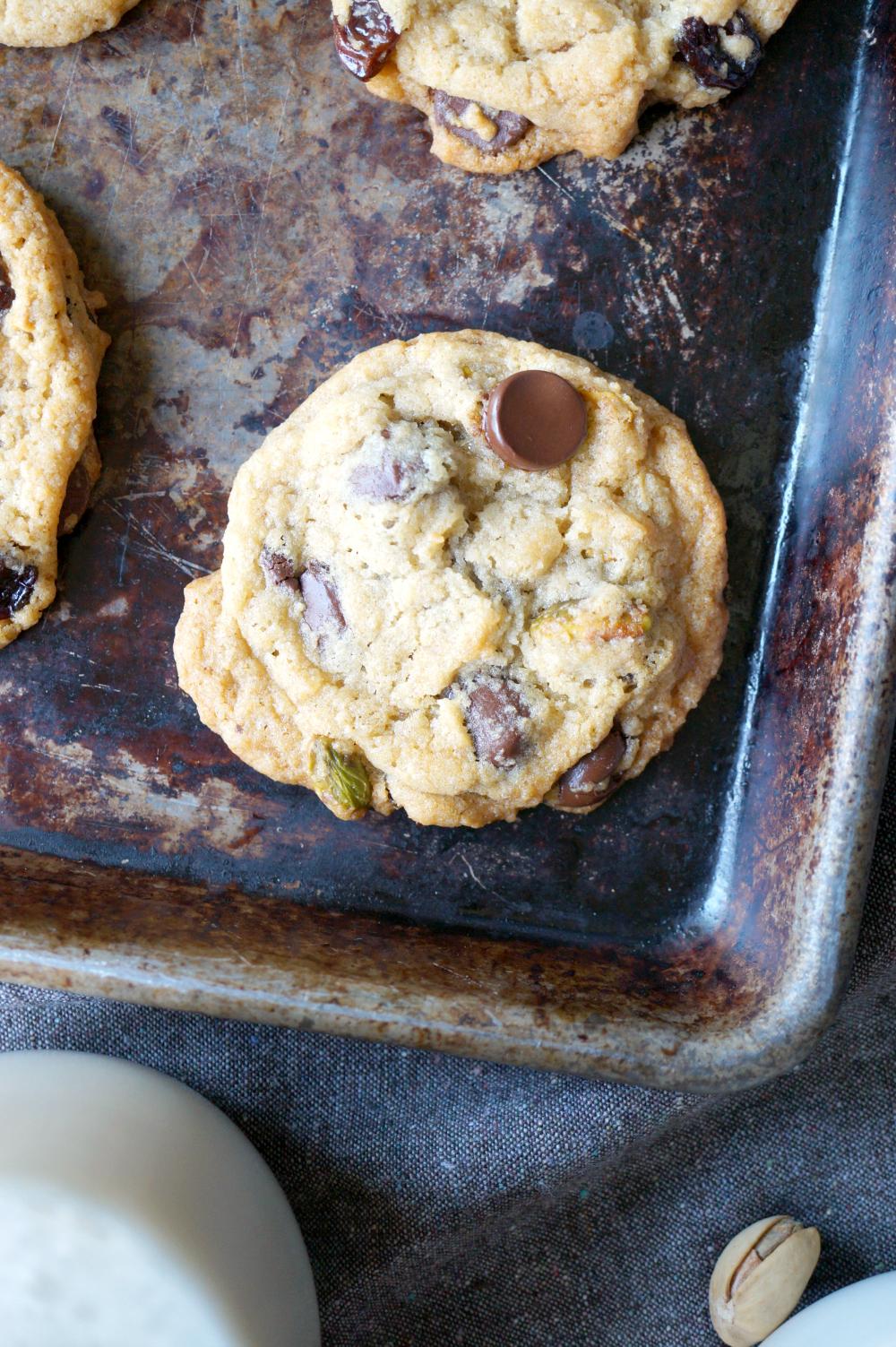 vegan cherry pistachio chocolate chip cookies | The Baking Fairy