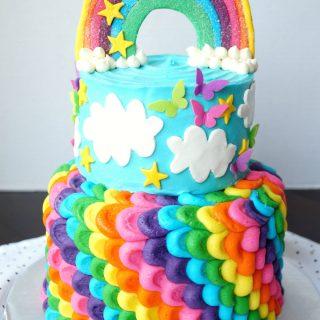 rainbow layered birthday cake | The Baking Fairy
