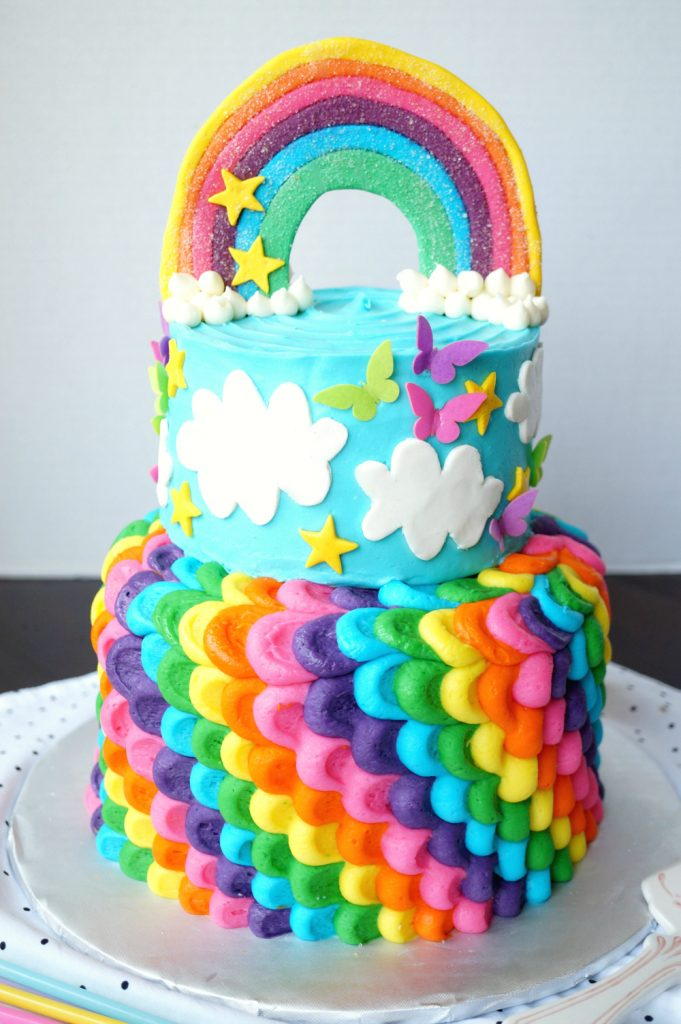 rainbow layered birthday cake | The Baking Fairy