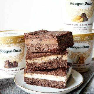 vegan brownie ice cream sandwiches | The Baking Fairy #AnIceCreamForThat #TheresAnIceCreamForThat #ad