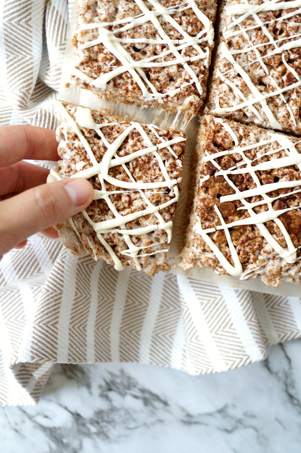 cinnamon roll rice krispie treats | The Baking Fairy