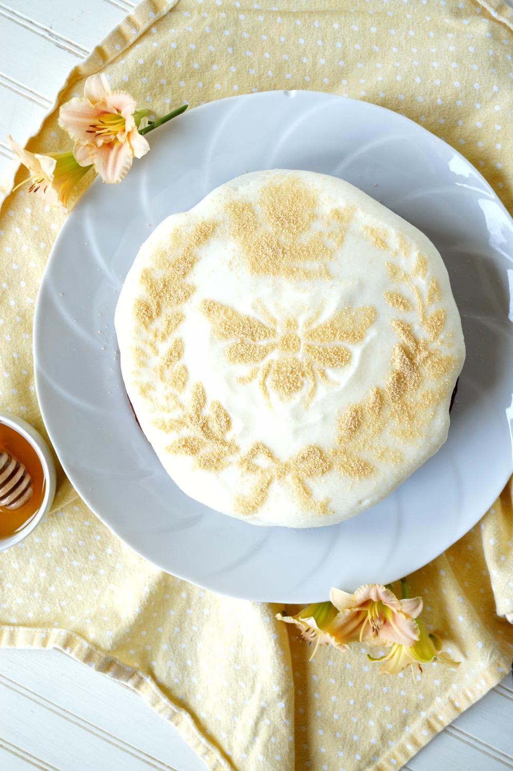 honey chamomile cake with ricotta frosting | The Baking Fairy
