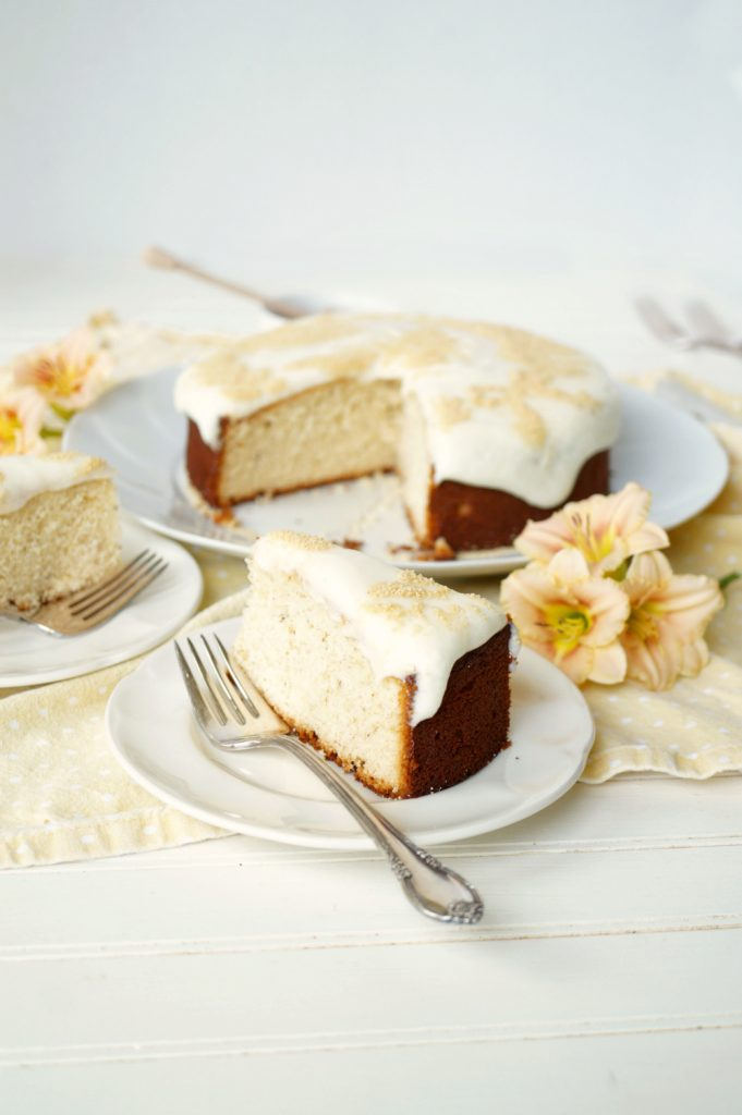 honey chamomile cake with ricotta frosting